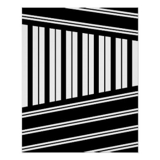Black and white Modern minimal geometric art Poster