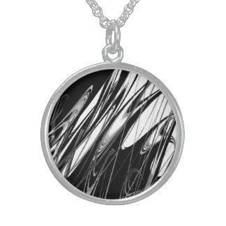 Black and White Modern Sterling Silver Necklace