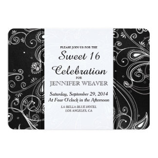 Black and White Modern Swirls Design Card
