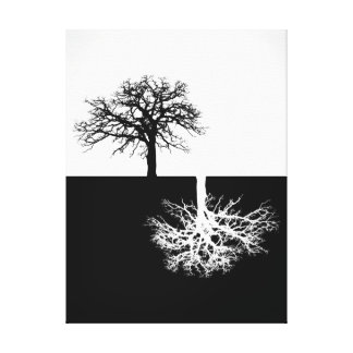 Black and white modern tree art canvas