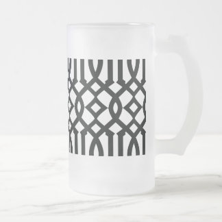 Black and White Modern Trellis Pattern Frosted Glass Beer Mug