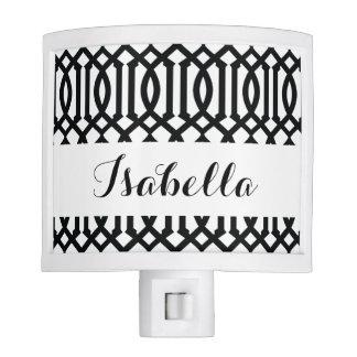 Black and White Modern Trellis Pattern Nite Light
