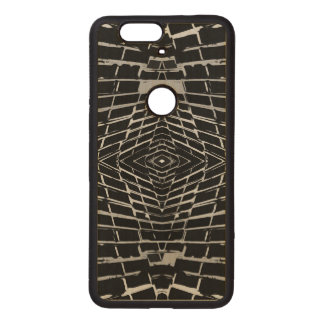 Black and White Modern Trendy Abstract Pattern Wood Nexus 6P Case