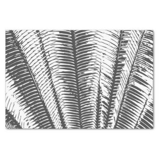 Black and White Modern Tropical Palm Fronds Tissue Paper