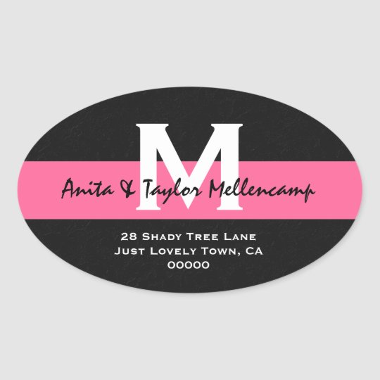 Black and White Modern Wedding Address L204 Oval Sticker