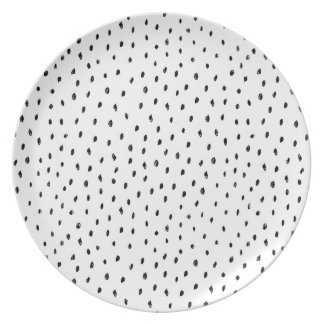 Black and White Monochrome Doodle Spot Plate