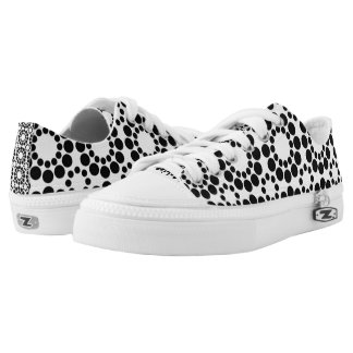 Black and White Monochrome Zipz Low Top Shoes
