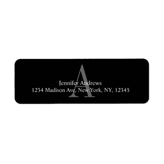 Black and White Monogram A Return Address Labels