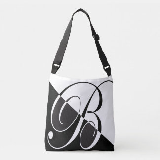 Black and White Monogram B Crossbody Bag