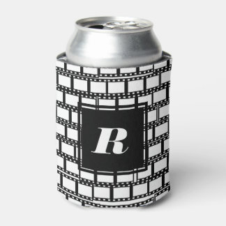 Black and White Monogram Design for Movie Lovers Can Cooler