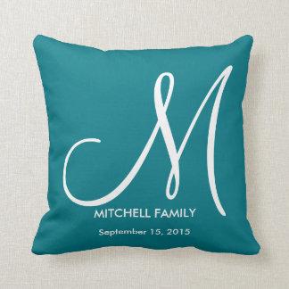 Black and White Monogram Family Wedding Square Throw Pillow