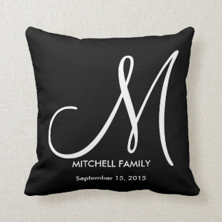 Black and White Monogram Family Wedding Square Throw Pillow