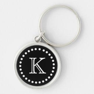 Black and White Monogram Key Chain