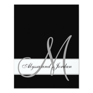 "Black and White Monogram Names Wedding Reception 4.25"" X 5.5"" Invitation Card"