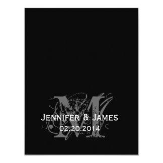 "Black and White Monogram Names Wedding Reply Card 4.25"" X 5.5"" Invitation Card"
