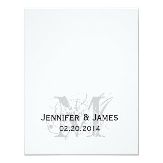 """Black and White Monogram Names Wedding Reply Cards 4.25"""" X 5.5"""" Invitation Card"""