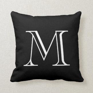 Black and White Monogram Throw Pillow
