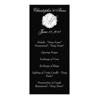 Black and White Monogram Wedding Ceremony Program