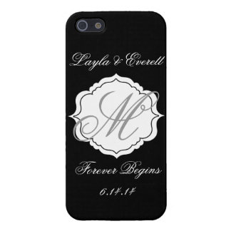 Black and White Monogram Wedding Custom Phone Case Case For The iPhone 5