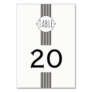 Black and white monogram wedding table number