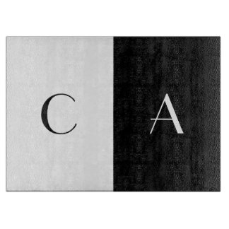 Black and White Monogrammed Cutting Board