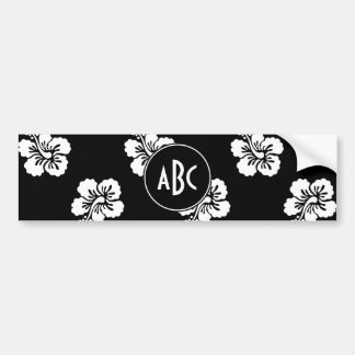 Black and White Monogrammed Floral Pattern Bumper Sticker