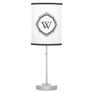 Black and White Monogrammed Lamp