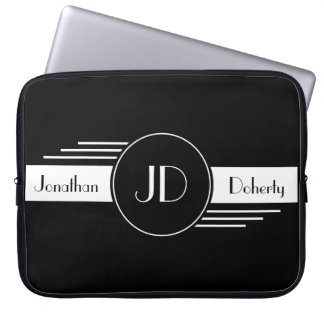 Black and White Monogrammed Laptop Sleeve