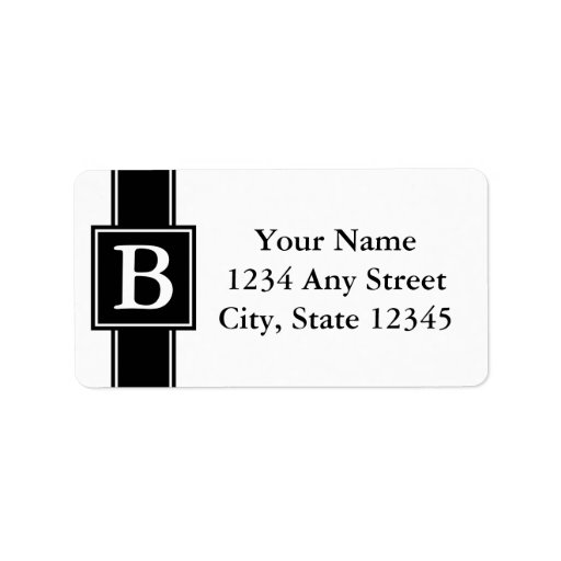 Black and White Monogrammed Return Address Labels Address Label