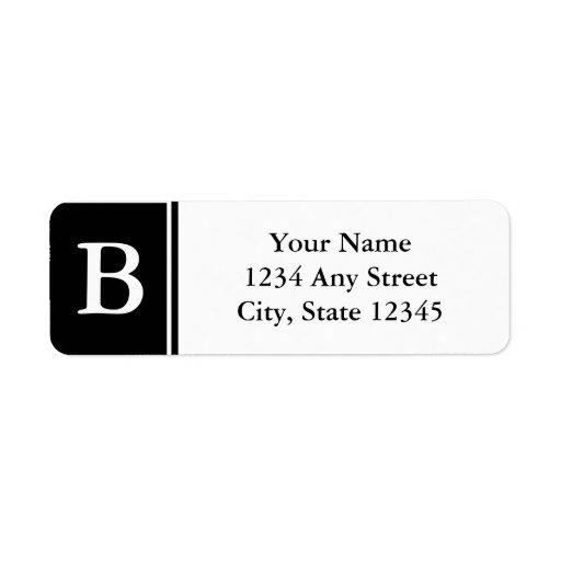 Black and White Monogrammed Return Address Labels Custom Return Address Labels