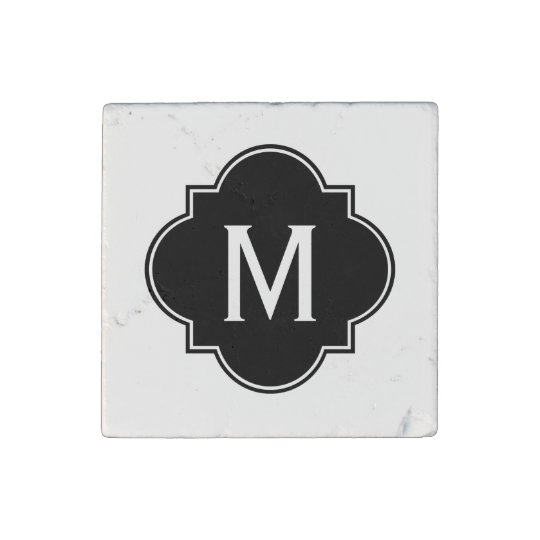 Black and White | Monogrammed Stone Magnets