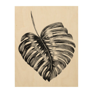 Black and white monstera leaf tropical foliage wood wall decor