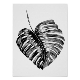 Black and white monstera leaf watercolor tropical poster