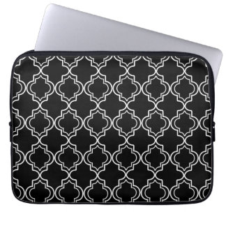 Black and White Moroccan Quatrefoil Laptop Sleeve