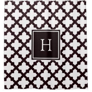Black and White Moroccan Quatrefoil Monogram