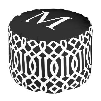 Black and White Moroccan Trellis Monogram Pouf