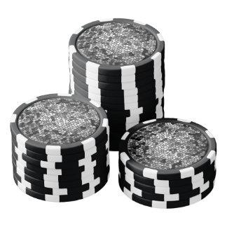 Black and White Mosaic Pattern Poker Chips Set