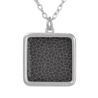 Black and White Mosaic Silver Plated Necklace