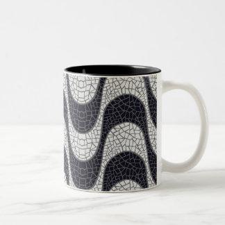 Black and white mosaic wave mug