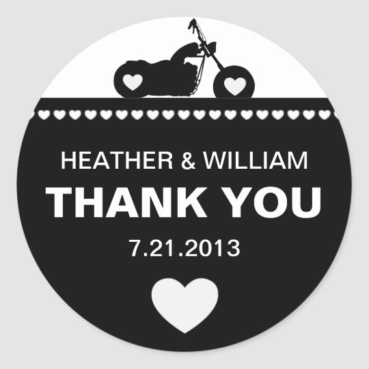 Black and White Motorcycle Biker Thank You Classic Round Sticker