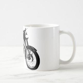 Black and White Motorcycle Drawing Basic White Mug