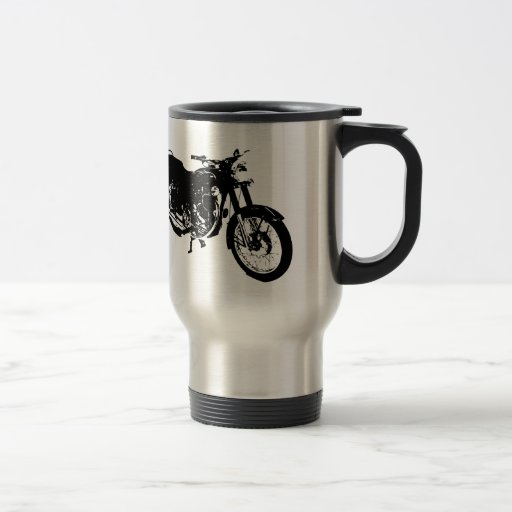 Black and White Motorcycle Drawing Coffee Mugs