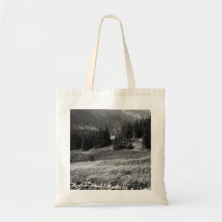 Black and White Mountain Valley and River Tote Bag