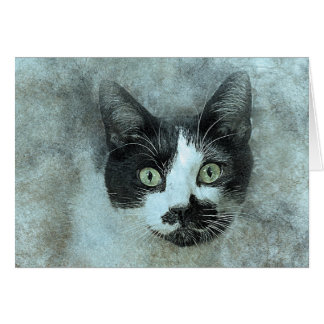 Black and White Mouser | Abstract | Watercolor Card