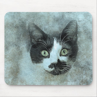 Black and White Mouser | Abstract | Watercolor Mouse Pad
