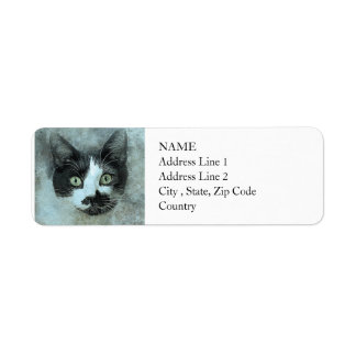 Black and White Mouser | Abstract | Watercolor Return Address Label