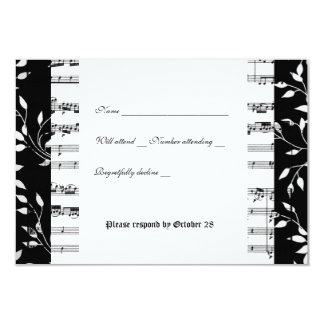 Black and White Mozart Music rsvp with envelope Card