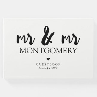Black and White Mr & Mr Calligraphy Guest Book