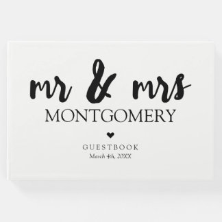 Black and White Mr & Mrs Calligraphy Guest Book