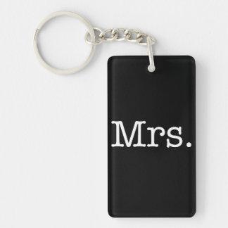 Black and White Mrs. Wedding Anniversary Quote Keychain